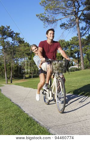Couple Enjoying Cycle Ride
