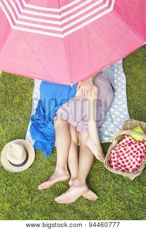 Overhead View Of Couple Enjoying Picnic Together