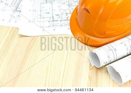 Architectural Drawings And Safety Helmet