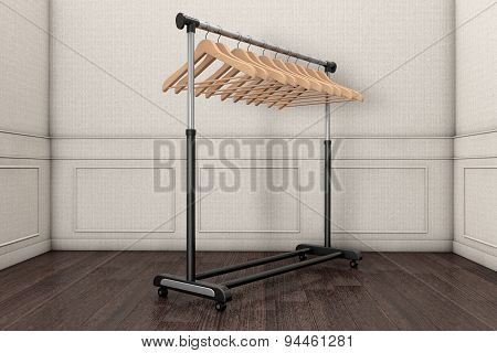 Mobile Black Coat Rack With Hangers