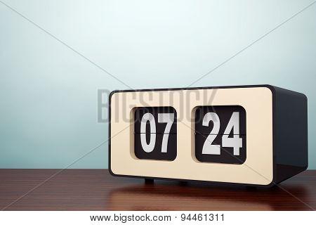 Old Style Photo. Vintage Flip Clock
