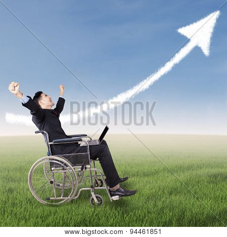 Excited Disabled Businessman Celebrate His Victory