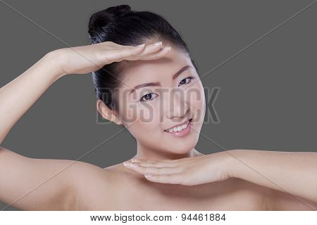 Excited Female Model With Fresh Skin