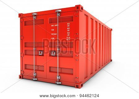 Red Shipping Container. 3D Rendering