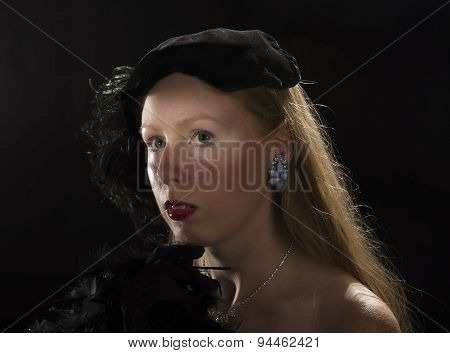 Film Noir Portrait of Woman in Vintage Clothing