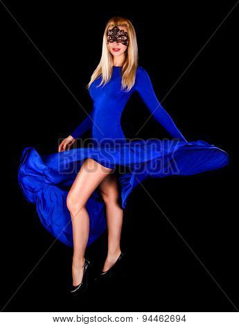 Gorgeous Young Lady Dancing In A Long Blue Evening Dress