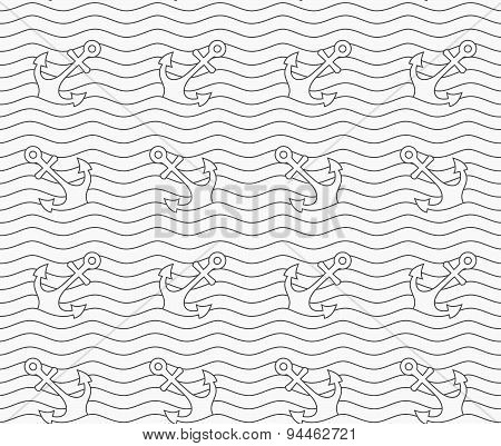 Gray Anchors On Wavy Continues Lines