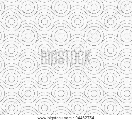 Gray Circles Merging With Wavy Lines