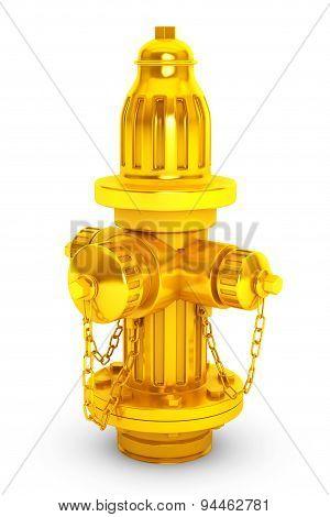 Golden Fire Hydranton 3D Rendering