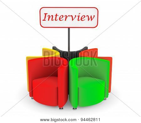Multicolor Abstract Chairs With Interview Banner