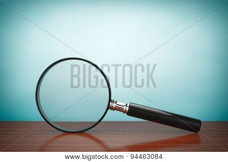 Old Style Photo. Magnifying Glass