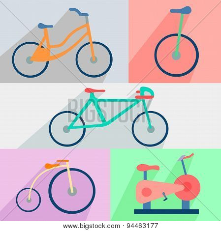 Flat set bicycles, exercise bike, circus, city, mountain
