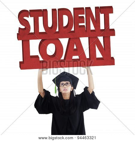 Graduate Student With Student Loan Text