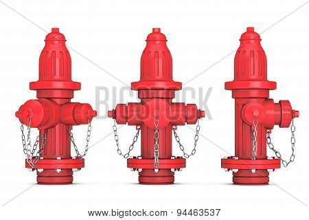 Red Fire Hydrants 3D Rendering