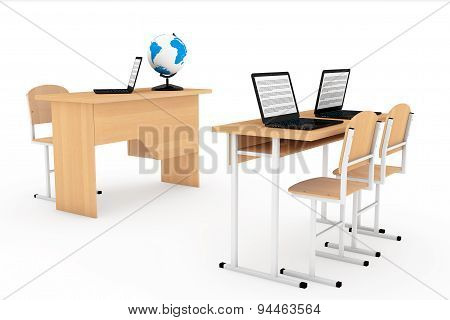 Modern Classroom Concept. School Desks With Laptops In Classroom