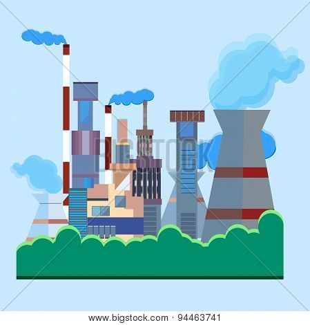 Architectural building factory, chimney, smoke