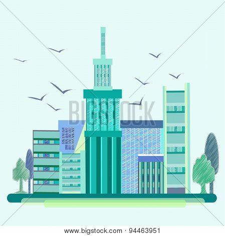 City, birds, trees, houses, buildings, architecture, city
