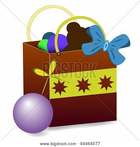 Gift bag vector with toys
