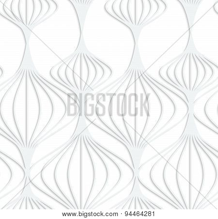Paper White Striped Chinese Lanterns