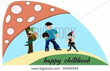People boy, children, mushroom. Happy childhood