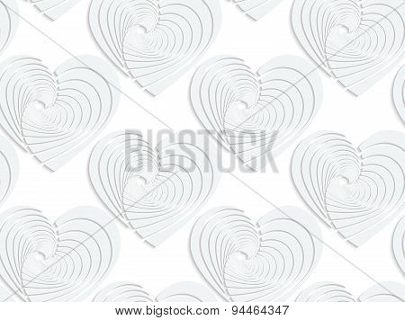 Paper White Textured Hearts