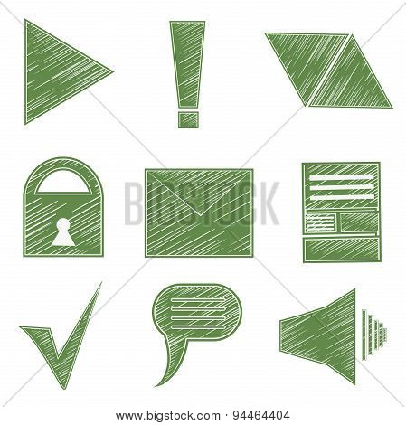 Set icons, symbols, arrows, checkmark, envelope, lock, sound, infographics