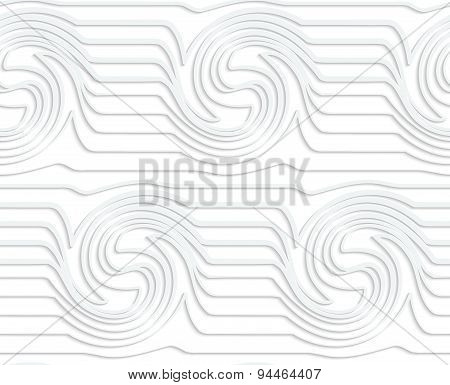 Paper White Waves With Swirls