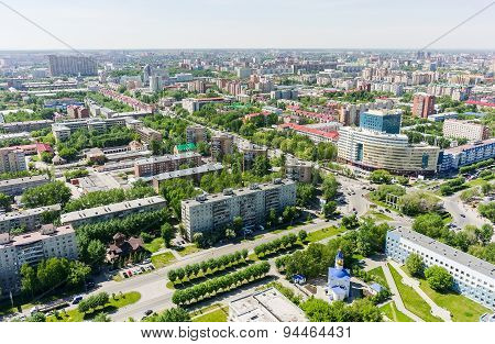 Aerial view on city hospital. Tyumen. Russia