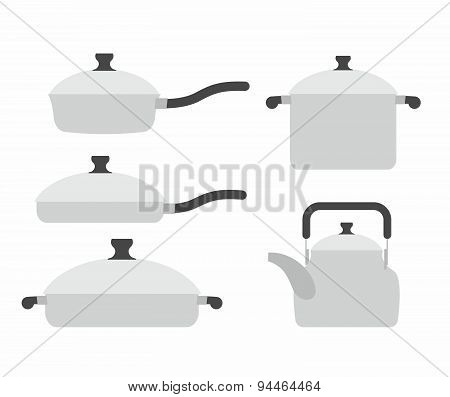Set  kitchen utensils: frying pan and saucepan. Tea and roaster. Kitchen tools vector illustration