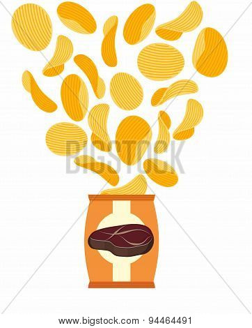 Potato chips with taste of fried steak. Packing chips and flying potatoes. On a white background. Ve