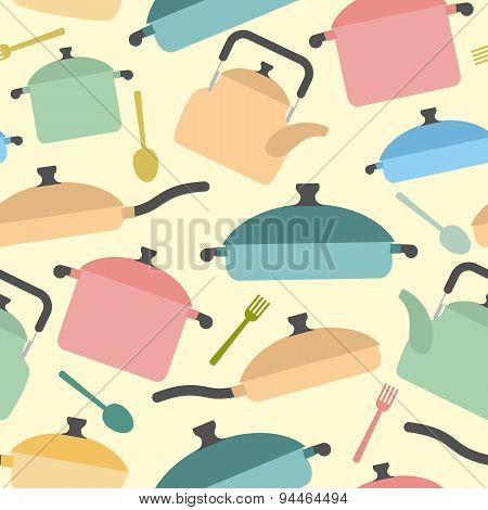 Kitchen utensils seamless pattern. Background of colored glassware. Forks and spoons, pots and pans.