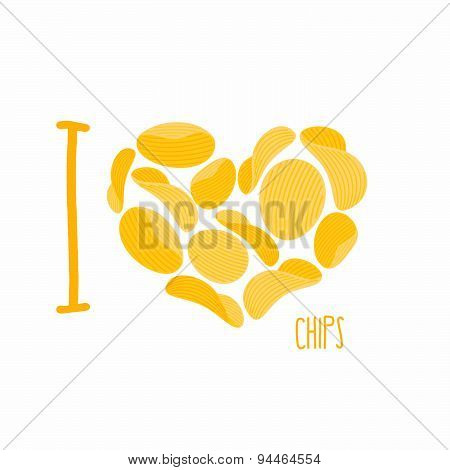 I love chips. Symbol heart of potato chips. Frying potatoes. Vector illustration
