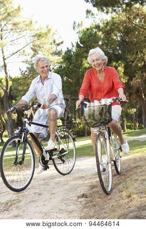 Senior Couple Enjoying Cycle Ride