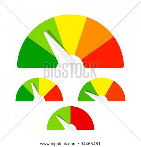 Speedometer or rating meter signs infographic gauge element. Vector.
