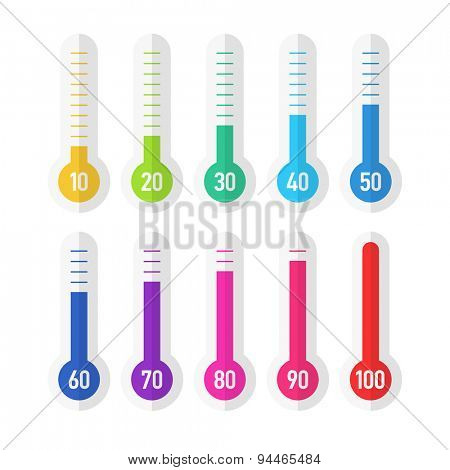 Colorful flat style thermometers with different levels. Vector.