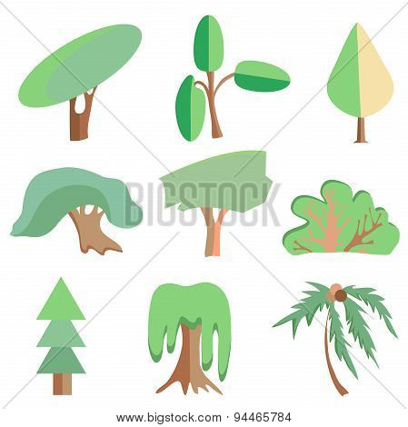 Trees, palm, oak, spruce, bush, willow, symbolic icons