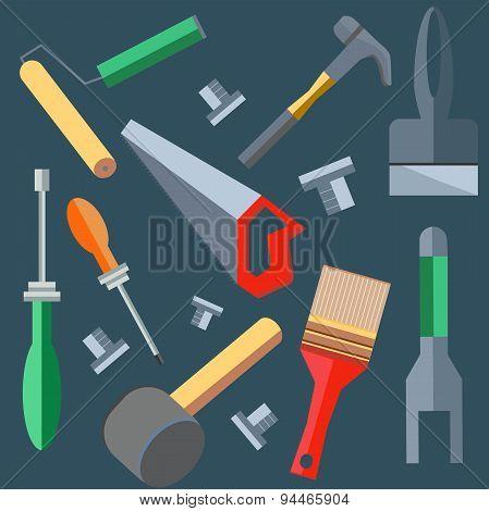 Tools hammer, saw, screwdriver, spatula, brush, roller