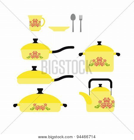 Set of dishes for cooking. Cookware: cup and saucer. Frying pan and saucepan. Knife and fork. Set ye