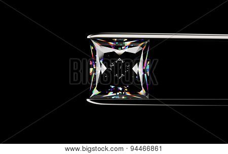 Square shape Diamond in the tweezers on a black background