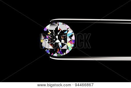 Round shape Diamond in the tweezers on a black background