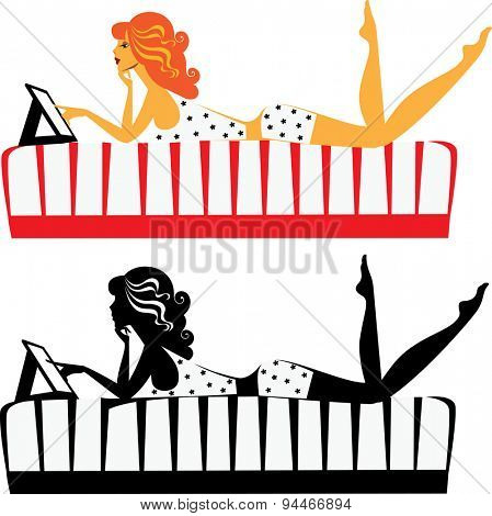 girl on the bed with a tablet, and her silhouette