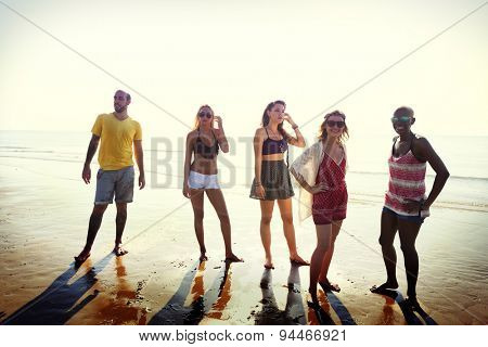 Friendship Enjoying Beach Summer Holiday Concept