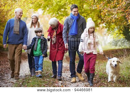 Multl Generation Family Walking Along Autumn Path With Dog