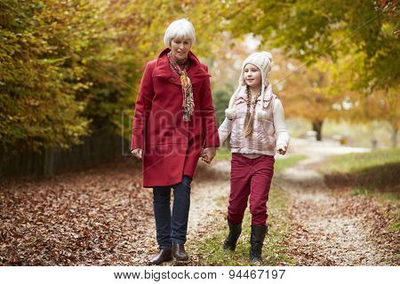 Grandmother Walking Along Autumn Path With Granddaughter