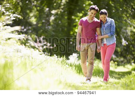 Young Couple Walking In Summer Countryside