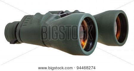 Side View Of Green Field Glasses Isolated On White