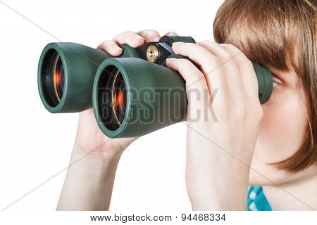 Girl Looks Through Binoculars Isolated On White