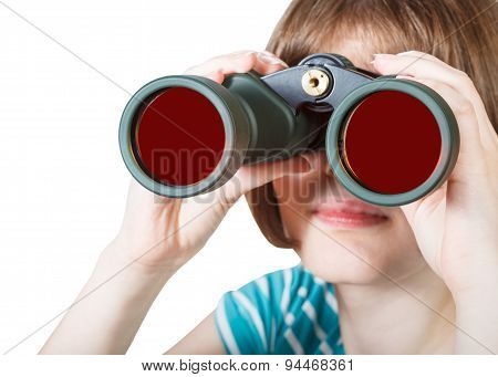 Front View Of Girl Looks Through Field Glasses