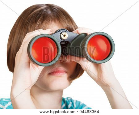 Front View Of Girl Looks Through Binoculars