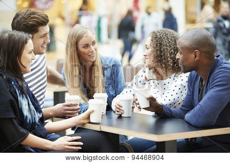 Group Of Friends Meeting In Shopping Mall Caf\x81_